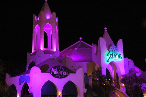 Sheik restaurant and nightclub in pink, night life, Mazatlan, Sinaloa, Mexico by Wonderlane