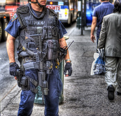 HDR POLICE (Tony Shi Photos) Tags: nyc newyorkcity torch hdr swat machinegun emans ert tactical    automaticweapon  specialforce emergencyserviceunit usvsthem nypdesu m4carbine indetail     thnhphnewyork    transitoperationalresponcecanineheavyweapons themwins  coltm4carbine