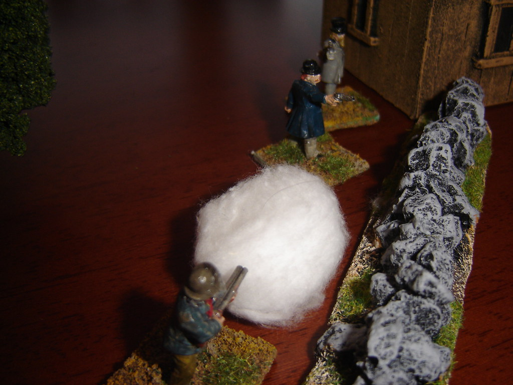 Ol Jeb unloads the shotgun at the Pinkertons