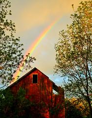Old Barn With Rainbow (Front) (jlaux42) Tags: sun newyork sunshine rain weather clouds spring rainbow barns lansing ithaca rainbows fingerlakes springtime 35mmf18 d3100