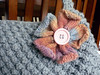 Knitted Flower on Berry Bag