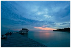 Monday Blues (Chee Seong) Tags: sunset sky sun beach clouds canon pier sand jetty blues malaysia monday 1022mm sabah kk survivorisland supershot pulautiga 400d aplusphoto excapture
