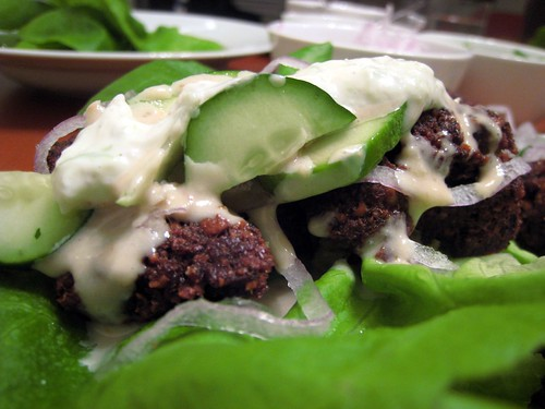 Felafel, dressed in a lettuce wrap