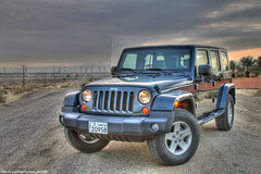 Jeep Wrangler Sunset  (HDR) (Mishari Al-Reshaid Photography) Tags: sunset cars clouds photoshop canon automobile desert jeep cs2 autos digitalrebel canoneos hdr photoshopcs2 q8 lightroom carphotos carphotography wrangler artphoto 24105 coolcars gtm carphoto cloudysunset photomatix imagestabilizer 24105mm vwc q80 xti 400d mishari canoneos400d digitalrebelxti  canon400d aplusphoto kuwaitphoto kuwaitphotos diamondclassphotographer kuwaitcars kvwc kuwaitartphoto gtmq8 kuwaitart  kuwaitvoluntaryworkcenter kuwaitvwc grendizer99 kuwaitphotography grendizer99photos misharialreshaid malreshaid misharyalrasheed