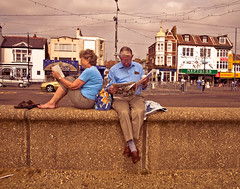 (Ben Burling) Tags: leica england english reading book newspaper couple british essex southend englishness britishness digilux3 benburling