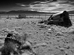 Water Front Property on a Ghost Lake (Bodie Bailey) Tags: california camping landscape lumix blackwhite chinatown desert roadtrip mining abandon ghosttown trailers owensvalley 395 owenslake highway395 keeler