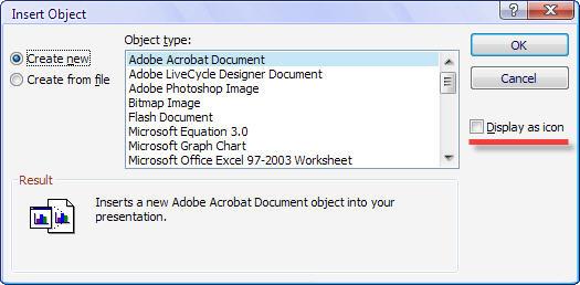 Insert Object in Office 2007