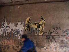 Riding and Playing (Kritta) Tags: old bike wall graffiti grafitti cyclist grafiti foosball graffitti rough decrepit blurr oldtown crusty lithuania vilnius easterneurope tablesoccer vilna crumbly senamiestis vokieciu vilno