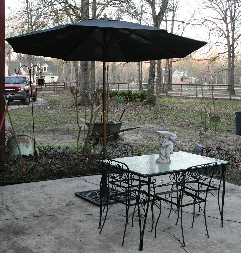 Side Patio in Progress of Spring Cleaning