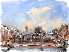 south high school over grasmere lake, washington park, denver, co (mike thomas) Tags: city urban lake water painting sketch spring mine place denver material brushpen washingtonpark watecolor artbookklub