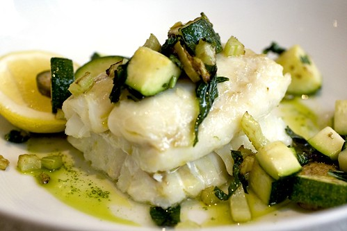 Gently Cooked Hake, Spicy Aioli, Zucchini and Mint