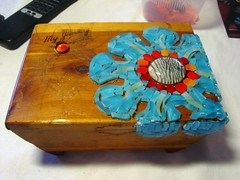 Jewelry Box Stained Glass Mosaic (MysticMosaics) Tags: wood flowers glass stainedglass jewelrybox stainedglassmosaic custommosaic