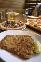 Pan-fried pork cutlet and House-made pepperoni pizza, Two, San Francisco