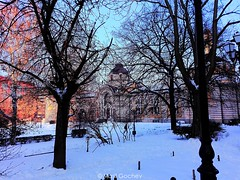 Winter city (Vasil Gochev) Tags: winter city art architecture sun light shaded colors trees street lamps snow sky people walk afternoon sofia bulgaria europe planet earth beautiful view digital photography performance picture photo photographer travels