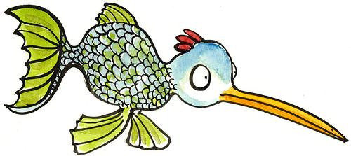 fish-fowl-by-hikingartist illustration (Frits Ahlefeldt, Hiking.org) Tags: fish color ecology illustration ink funny comic drawing cartoon free creativecommons species mutant bastard genetic cartoons geneology mutation printversion hikingartistcom hikingartist fritsahlefeldt