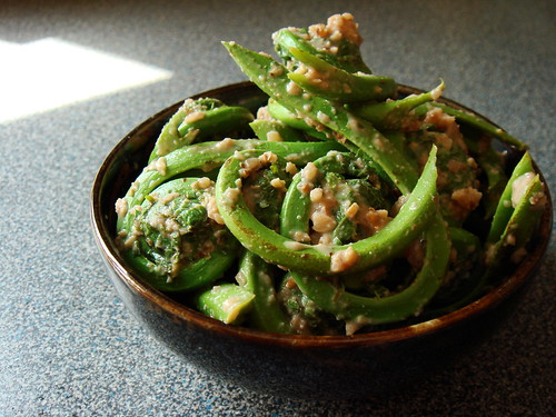 Fiddlehead with Walnut-Miso Sauce
