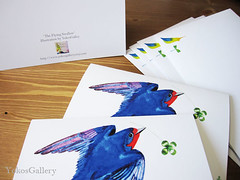 The Flying Swallow (YokosGallery) Tags: birthday art birds ink watercolor paper cards spring thankyou originalpainting blank envelope swallow simple goodluck thinkingofyou gretting papergoods paniting setof4 stationaly conglatulations yokosgallery