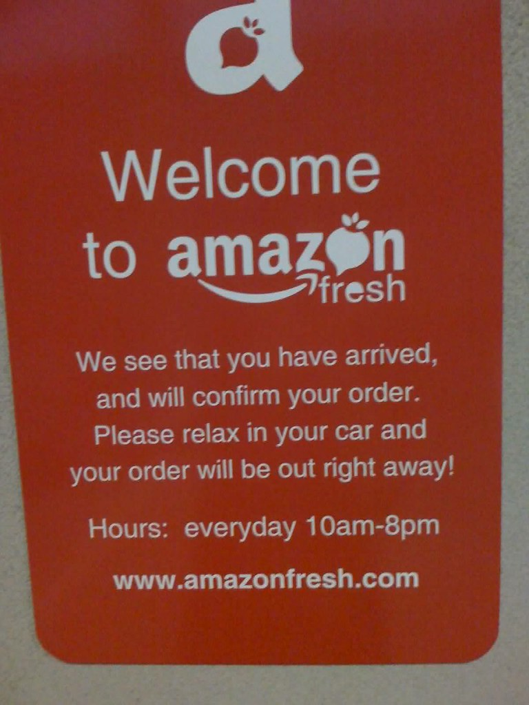 Amazon Fresh sign that greets customers