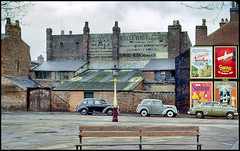 Howard St, Birmingham, 1963 (Futurilla) Tags: england cars bench advertising birmingham lamppost 1950s posters 1960s badges westmidlands midlands swanvesta nicklin futurilla wrighton stardrops cerebossalt wolewis ansellsbitter