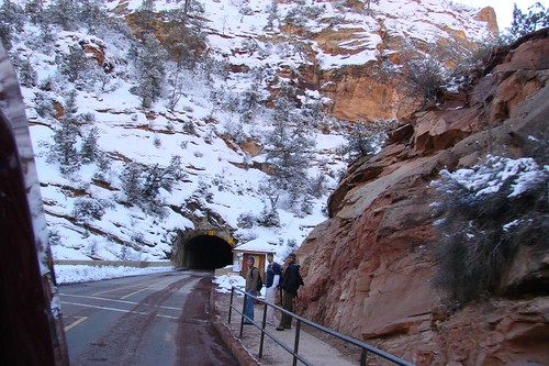 Zion Nat Park entrance into LONG tunnel