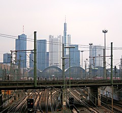 Rails and the Skyline of Frankfurt (lapideo) Tags: skyline germany eos frankfurt rails frankfurtammain