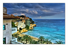 Mallorca March 2008 (Bjarne Kris Haug) Tags: sea beach water clouds hotel mallorca hotelview hdr themediterranean themediterraneansea canong9