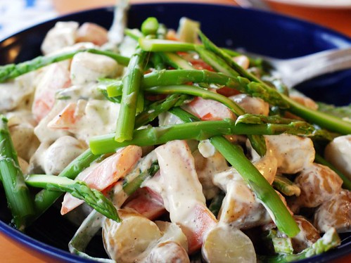 mustard potato salad with asparagus