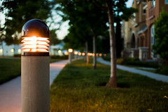 light up the way (Nuttin) Tags: california trees houses lamp nikon bokeh dusk sigma objects pathway rivermark d300 30mm