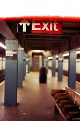 Exit (SuperEvilBrian) Tags: film brooklyn underground subway nikon fuji adobe exit photoshopcs2 photocd xtra presidentstreet yesfilm newyorkcitysubway lastframe brianmcgloinallrightsreservednousageallowedincludingcopyingorsharingwithoutwrittenpermission