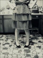 Self-Portrait (ashleynicolesmith photography) Tags: woman selfportrait kitchen girl female canon vintage dress legs heels ps