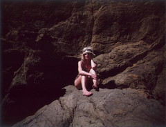 Beauty, on the Rocks (Lou O' Bedlam) Tags: sanfrancisco polaroid photoshoot marinheadlands inthezone polaroid250 celisse louobedlam 41308 lounoble fuji100fp louobedlamcom