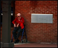 All I Want Is a Place to Hang My Hat (Indie Photos) Tags: red portrait man brick hat wall vent candid maryland baltimore walker elderly fellspoint views50