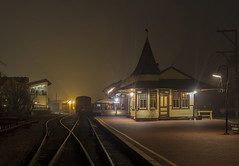 365-38 (• estatik •) Tags: 36538 365 38 february72017 2717 tues tuesday night longexposure newhope train station rr railroad rail road fog triumph pa pennsylvania buckscounty newhopeivyland historic