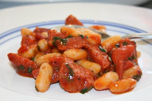 Brunch! Chorizo, tomato & cannelini beans w/ coriander