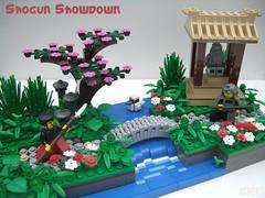 Shogun Showdown (2 Much Caffeine) Tags: bridge japan shrine lego ninja samurai oriental shogun moc blossomtree ornamentalgarden ifttt