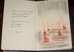 burning boats (pup707) Tags: art moleskine boats lyrics song drawings burning doodle figures bethorton daybreaker