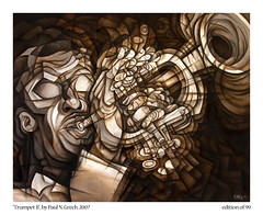 Trumpet II (Paul N Grech) Tags: musician music brown art modern painting louis trumpet surreal jazz blues musical kinetic futurism instrument oil africanamerican clifford armstrong marsalis cubist satchmo milesdavis wynton dizzygillespie bluemitchell leemorgan cliffordbrown paulgrech