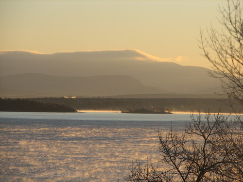 Vermont & Lake Champlain as seen at sunrise from Westport, NY