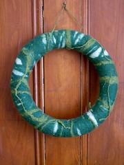 wet felted wreath (knitalatte11) Tags: green wet felting wreath ornaments fleece