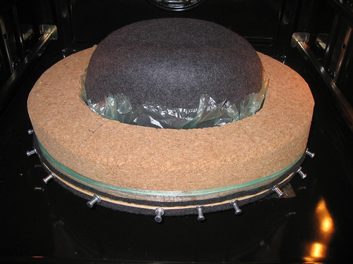 Blocked hat in the oven for drying