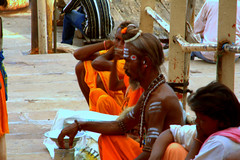 people - sadhus (utpal.) Tags: life blue people bw india color green colors yellow clouds portraits canon landscape happy flickr child indian vivid assam picnik waterscape chandana utpal utpalnath