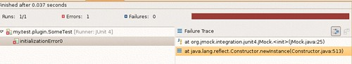 Failure trace when org.junit4 dependency is declared before org.jmock dependency.
