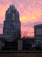 022008, 051/366: Sunsetish (Boots in the Oven) Tags: windows building tower glass skyline architecture skyscraper austin wednesday office streetlight downtown pointy texas streetlamp parking lot pickup february frostbank frostbankbuilding week8 mercoledi 51366 project366 project3662008