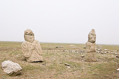 Two stone statues