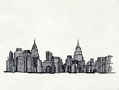 2.23.08 - NYC Skyline (invisibleElement) Tags: nyc skyline sketch downtown sharpie invisibleelement sketchaday