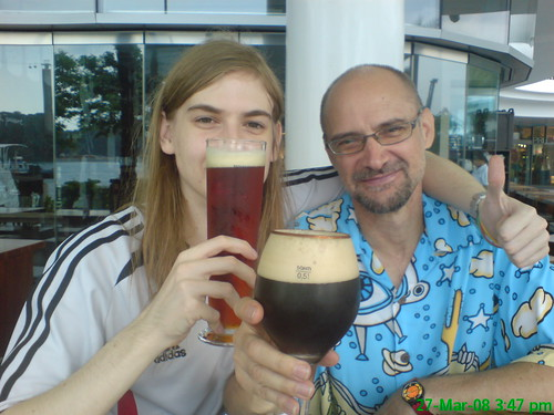 My dad and I at Brotzeit at Vivo city for my 22nd!