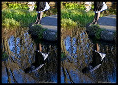 3D reflected girl (neilcreek) Tags: reflection girl garden 3d crosseye gothic fitzroy lolita egl loreo