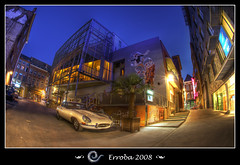 The 'Puro' restaurant in Mechelen - Belgium (Erroba) Tags: street city summer tree art classic car night photoshop canon lights restaurant grafitti belgium tripod davinci sigma wallart palm fisheye tips jaguar erlend supercar hdr mechelen puro sportscar novotel etype cs3 10mm 3xp photomatix supershot tonemapped tonemapping fineartphotos 400d excellentphotographerawards overtheexcellence erroba robaye erlendrobaye thedavincitouch sigma10mmf28exdcfisheye