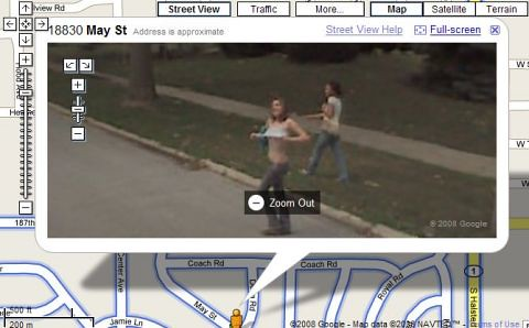 Booble Maps Street View: Flasher in action on Google Maps Street View.
