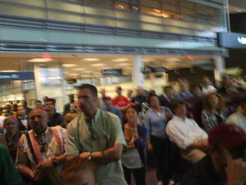 crowd at the boston airport